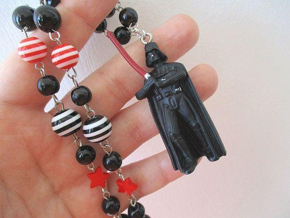 "Star Wars necklace - DARTH VADER -Beaded necklace - Geek Gear 16"" length $26"