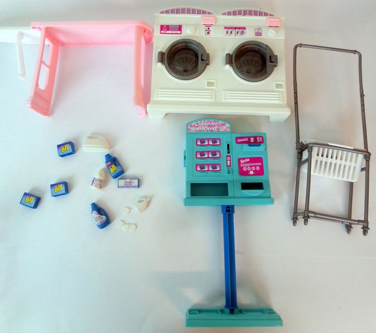 Lot Barbie Laundry Room Iron Accessories  Washer Dryer Vending Machine Doll