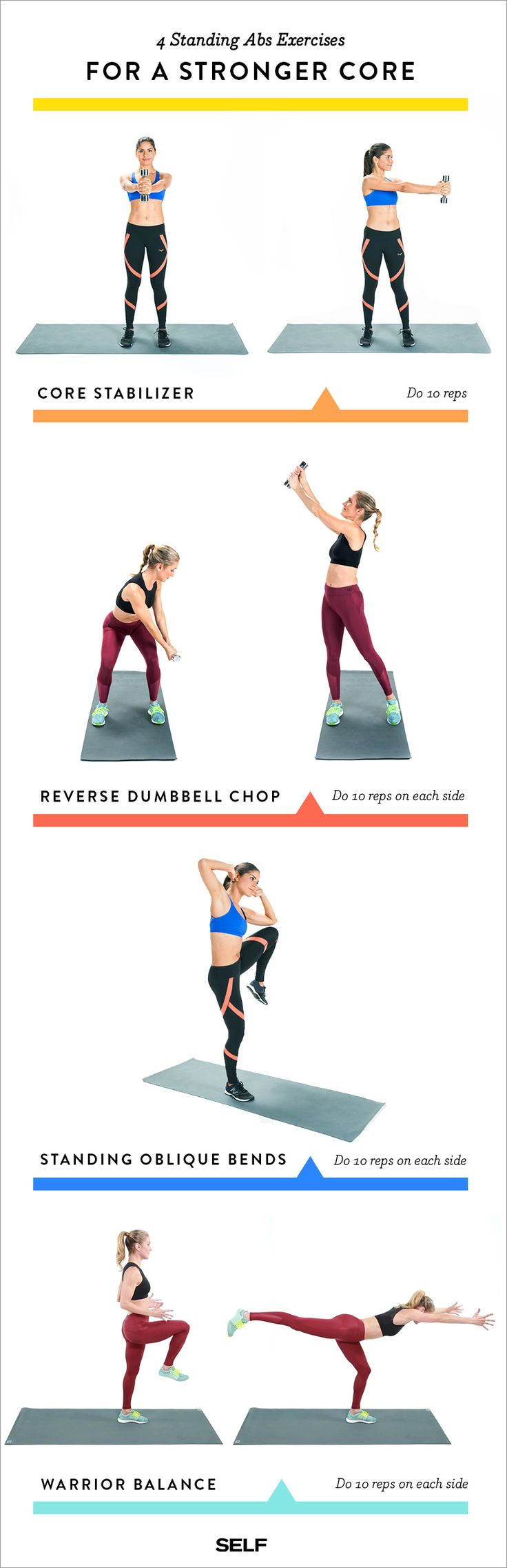 While you shouldn't neglect your floor abs workout entirely, standing exercises are a great way to mix up your regular routine. So give the four-move circuit below a try (be sure to save the Pin below for easy reference). You'll need one dumbbell—start with a weight that's five to eight pounds, and go heavier when you can.