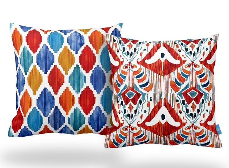 IKAT INSPIRED CUSHION SET OF TWO