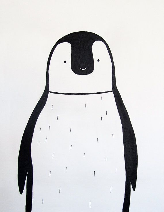 Modern kids and nursery art - Penguin (Black and white) - Adriane Duckworth Original Paintings on Etsy