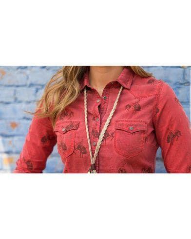 Ryan Michael Women's Bucking Horse Print Shirt | Sheplers