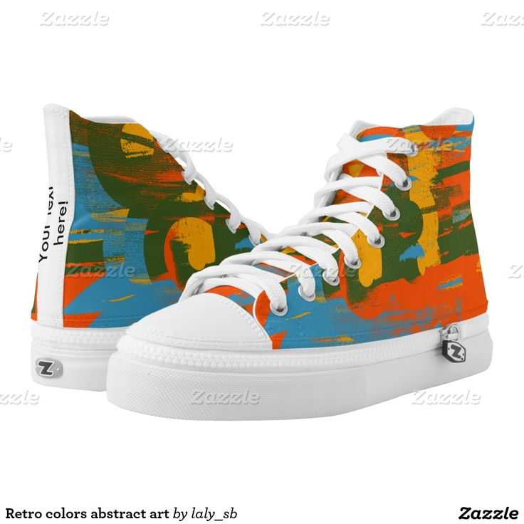 Retro colors abstract art printed shoes