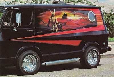 Custom 70s Airbrushed Van With Fantasy Scene And Porthole