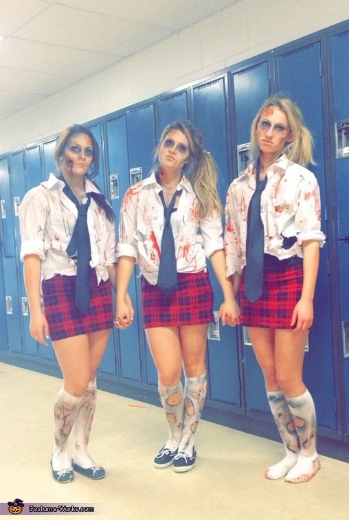 Chelsea: Chelsea Kennedy, Mackenzie Buller, Mikayla Buller. We got the idea from the tv show and movies that have zombies. We ripped up our shirts and put fake blood and dirt,...