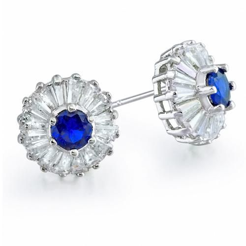 Vintage Baguette Cut Blue Sapphire CZ Crown Stud Earrings