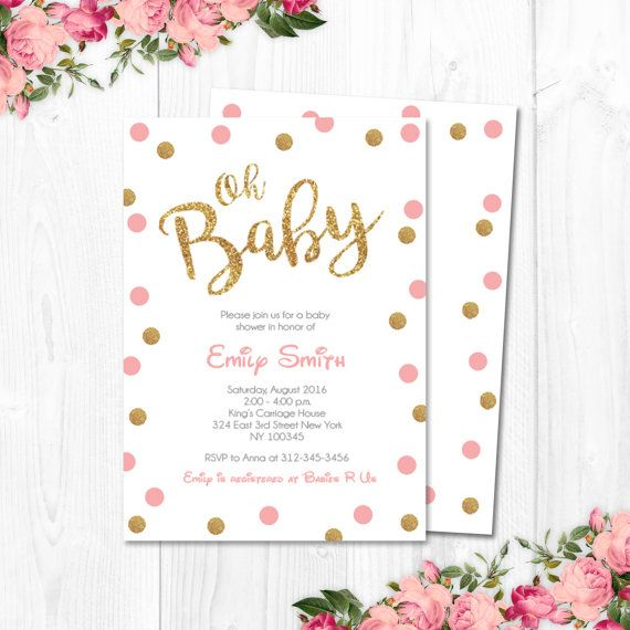 Pink and Gold Baby Shower Invitation Confetti by CutePaperStudio