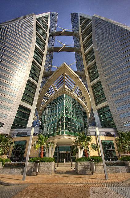 World Trade Center in Manama, Bahrain. photo: Arne Bevaart, modern building, futuristic architecture, futuristic building