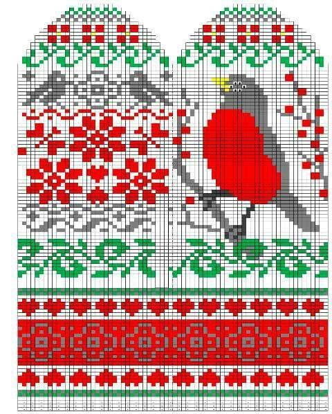 Folk Art mitten pattern. Click through. Repinned by www.mygrowingtraditions.com  skandinaviskt färgstickning mönsterstickning vantar blommor fågel