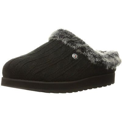 #Skechers womens/ladies keepsakes - ice angel #fluffy trim mule #slippers,  View more on the LINK: 	http://www.zeppy.io/product/gb/2/201695677482/