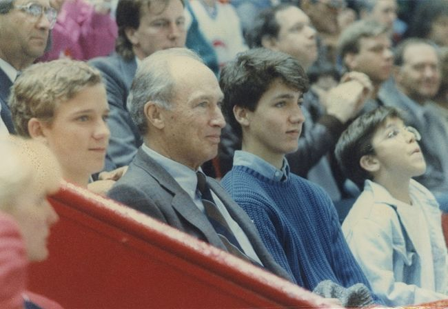 Pierre Trudeau with his sons in Peterborough Ontario on May 2, 1989