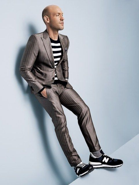 Switch up a suit with stripes and sneakers