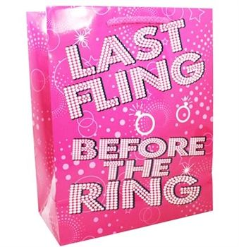 "The ""Last Fling Before the Ring"" gift bag for a Pink Bachelorette Party! Just $1.99 at The House of Bachelorette!"