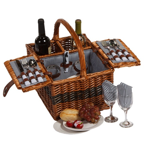 A Picnic basket that has a built-in for two bottles of wine? YES!  Picnic Plus Largo 2 Person Picnic Basket Set Cutlery Plates Wine Glass Napkin | eBay