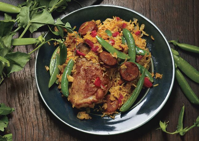 ... with Sugar Snap Peas | Recipe | Chicken Paella, Paella and Snap Peas