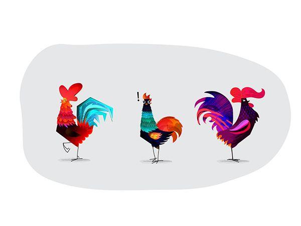 Roosters by Iryna Korshak, via Behance