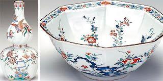 Porcelana de cerâmica japonesa pintada com imagem realistas