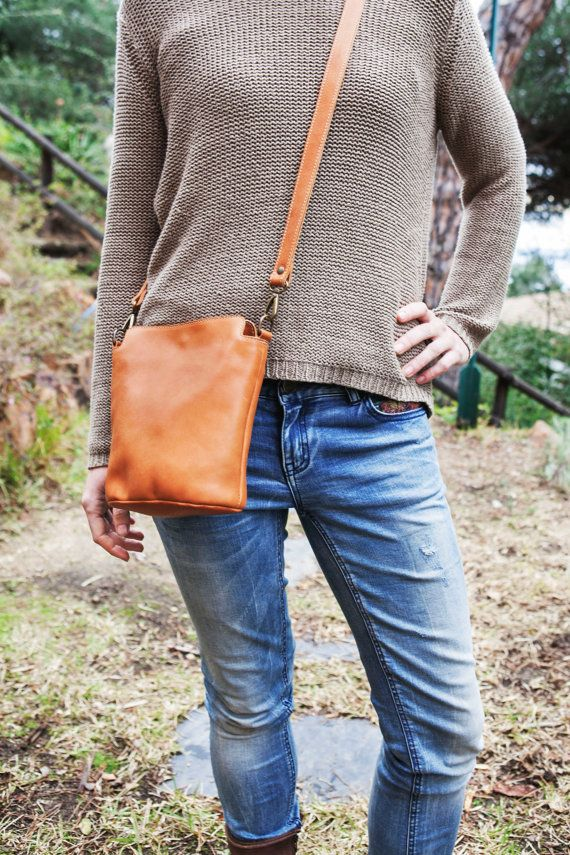 COWHIDE Leather bag // Small Leather handbag // Brown by KURTIK