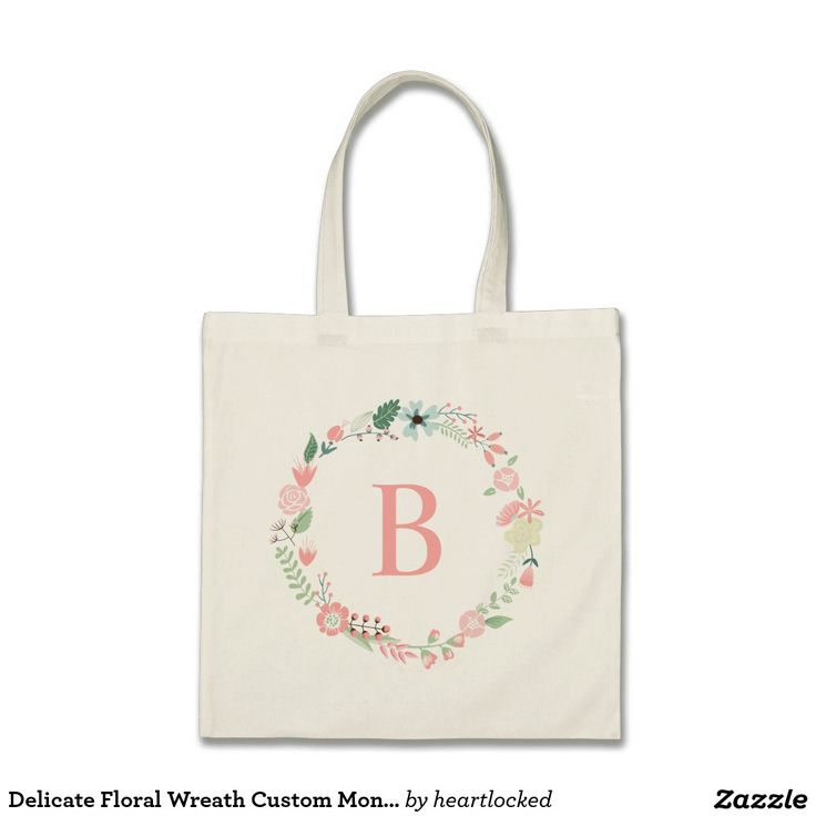 Delicate Floral Wreath Custom Monogrammed Budget Tote Bag