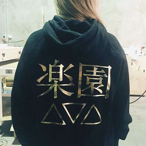 """""""Beautiful gold foiling on hoodies! Awesome new line from @aimeeannevans #AE楽園"""""""