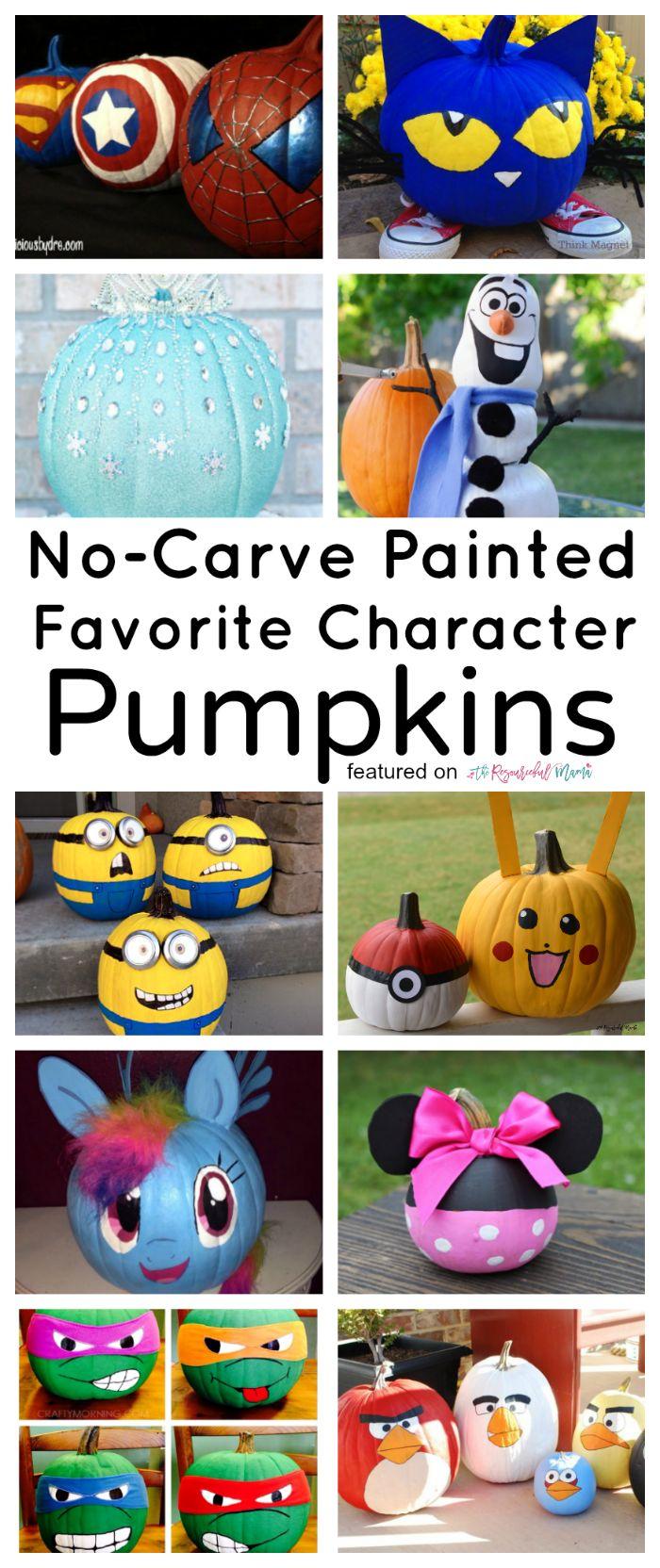 10 no carve painted favorite character pumpkins