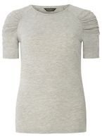 Womens Grey Ruched Sleeve T-Shirt- Grey