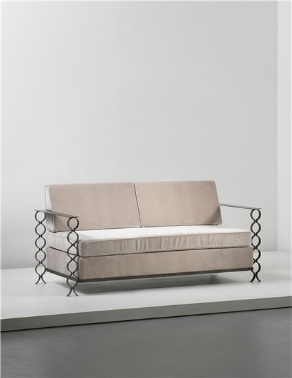 JEAN ROYÈRE Unique 'Ruban' sofa, commissioned for a private apartment, France, circa 1950  Painted wrought iron, brass, fabric. 77.5 x 170.3 x 76 cm (30 1/2 x 67 x 29 7/8 in)