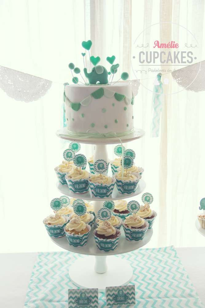 Cake and cupcakes at an elephant baby shower party! See more party ideas at CatchMyParty.com!