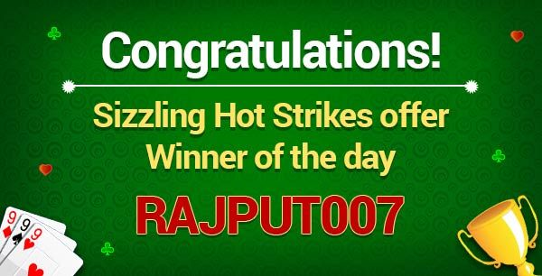 """Winner of the day:""""RAJPUT007""""  Congratulations! You are the winner of the Sizzling Hot Strikes offer. Prize Won: Rs.2000 worth flipkart vouchers  Hurry!Don't miss the chance to be a winner at classicrummy.  Know more about the offer @ https://www.classicrummy.com/sizzling-hot-strikes?link_name=CR-12  #rummy #classicrummy #flipkart #winner #flipkartvouchers #vouchers"""