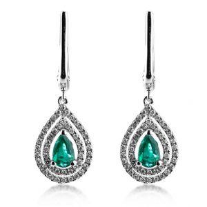 Cercei cu smaralde si diamante C402