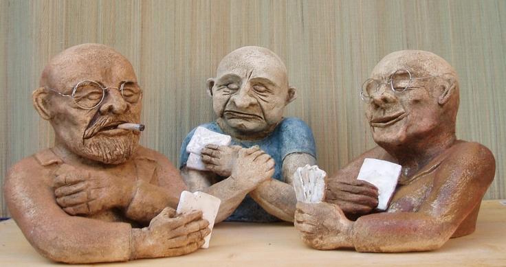 Card players, ceramic sculpture Michaela Stejskalova