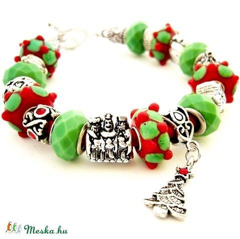 Karácsonyéji álom! - zöld és piros karkötő pandora stílusban karácsonyra (ButterflyJew) - Meska.hu
