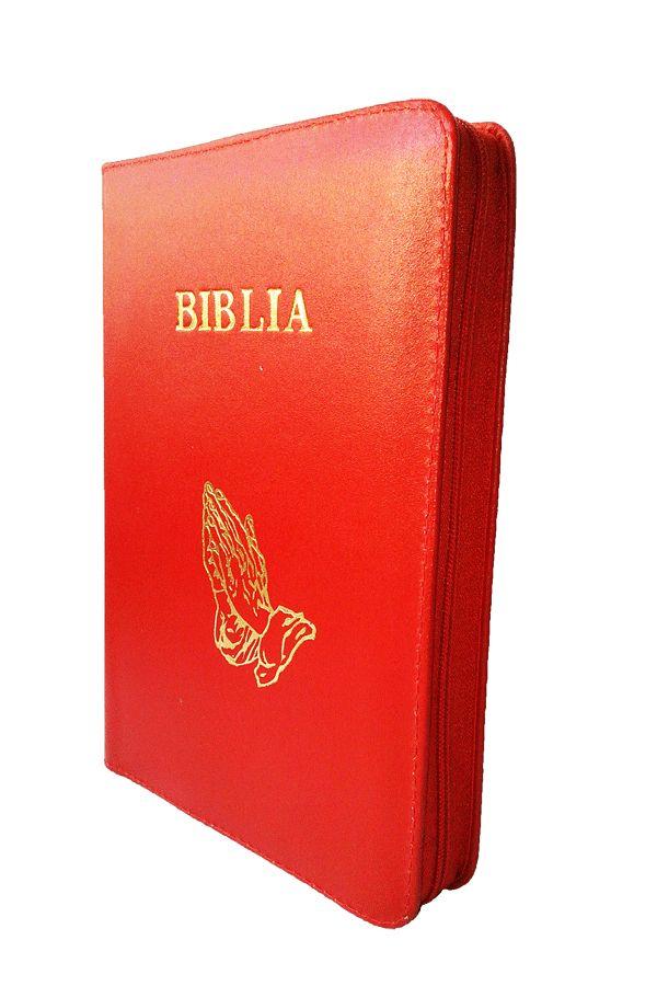 Biblia NTR (Biblia Noua Traducere), coperta din piele, rosie, cu maini, fermoar, marime medie
