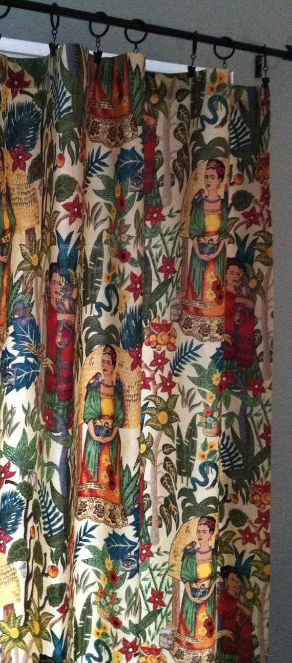 Frida Kahlo Home Decor, Artsy Cafe or Flat Curtain, Eclectic Red Turquoise Cafe Curtain, Red Flat Curtain, Yellow Vintage Window Treatment
