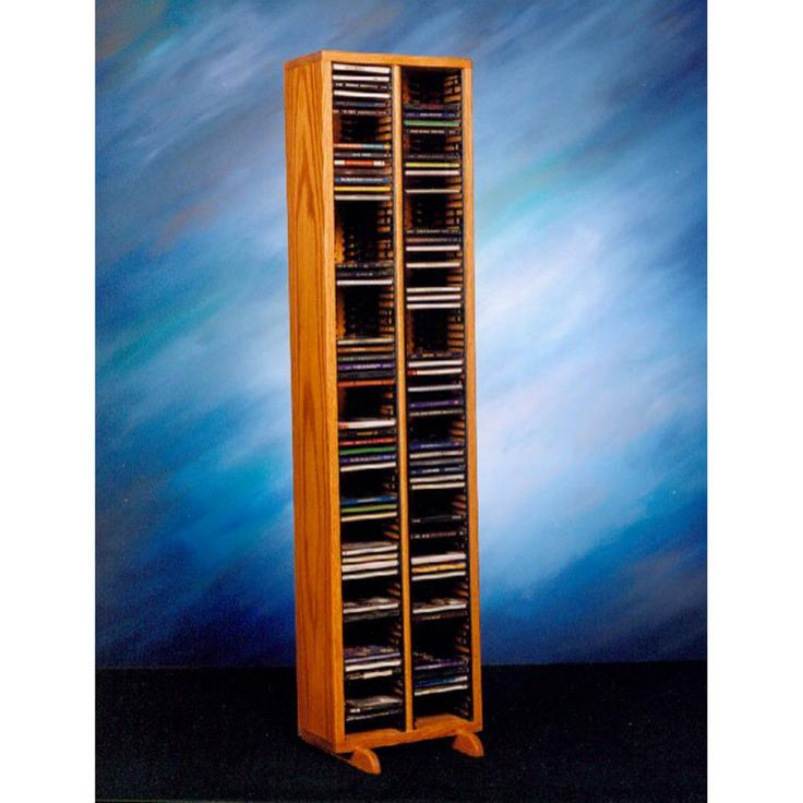 The Wood Shed Solid Oak 160 CD Media Tower with Individual Locking Slots - 209-4