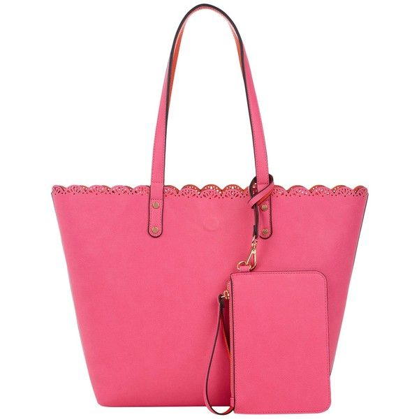 Oasis Skye Scallop Shopper Bag ($43) ❤ liked on Polyvore featuring bags, handbags, tote bags, mid pink, handbag purse, over the shoulder purse, pink tote bags, pink hand bags and purse pouch