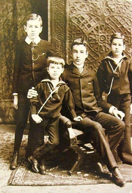 Consuelo Vanderbilt's first cousins and the sons of her Uncle Cornelius Vanderbilt II: Cornelius Vanderbilt III, ReginaldC. Vanderbilt, William Henry Vanderbilt IIand Alfred G. Vanderbilt.