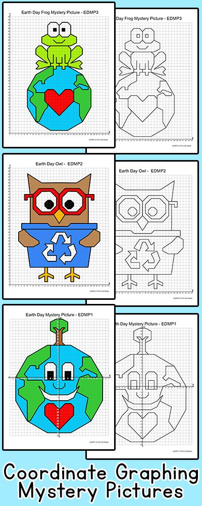 Practice plotting ordered pairs with these fun Earth Day coordinate graphing mystery pictures! These are perfect for math centers, early finishers or homework.