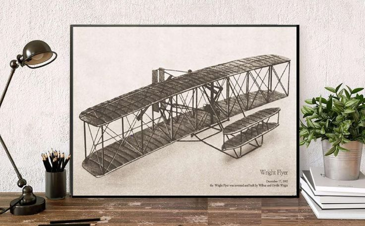 Huge vintage print/Wright Flyer poster illustration/vintage wall Decor/Antique wall Aviation Airplanes,airplane wall art/unique decor boy by BeautyOfPrints on Etsy