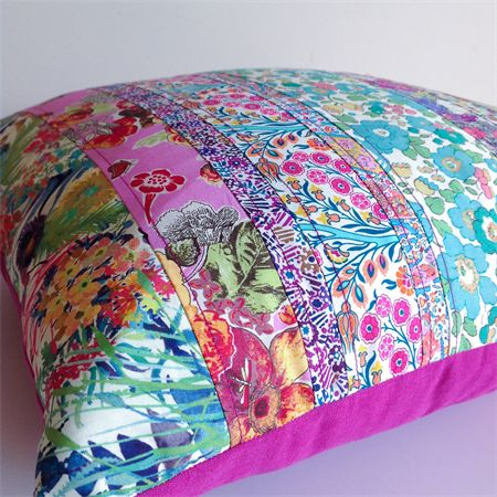 Liberty of London Strip Cushion  ~ Floral Purple Green~ Home Decor