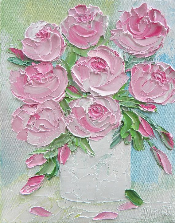 Pink Peonies Oil Painting Peony Impasto Oil by KenziesCottage