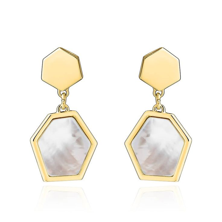 Boucles d'oreilles Alyssa Agatha Paris #newcollection #honey #jewelry #honeycomb #bijoux #doré #nacre