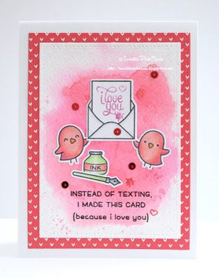 Handmade Valentine's day card using Lawn Fawn stamps