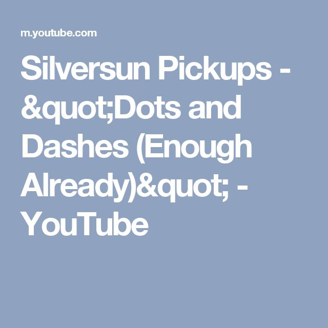 """Silversun Pickups - """"Dots and Dashes (Enough Already)"""" - YouTube"""