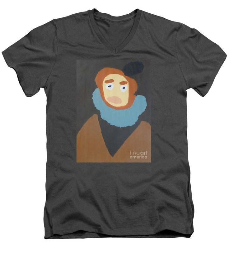 Patrick V-Neck T-Shirt featuring the painting Portrait Of Maria Anna 2015 - After Diego Velazquez by Patrick Francis