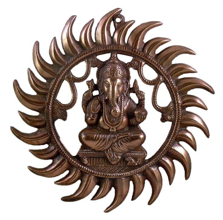 Ganesha Radiating as Sun - Wall Hanging (Black Metal)