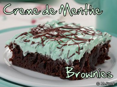"Sure, we've all seen those ""gourmet"" brownies at our favorite bakeries and grocery stores - the rocky road and peanut butter kinds. Well, add these to the list. They're mint brownies that look so elegant, your guests will think you bought 'em. But one bite will tell them these are too tasty to be store-bought. Yup, stand up and be proud to say that these are ""homemade and hassle-free!"""