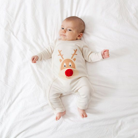 Christmas Baby romper - baby's first christmas - reindeer design with pom pom - organic cotton - christmas baby - festive baby outfit #ad #afflink