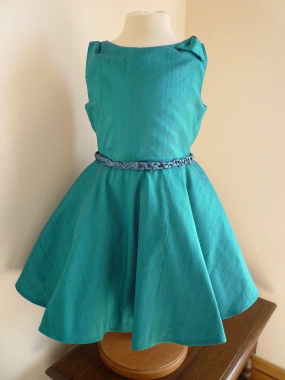 Turquoise Silk Bridesmaids Dress  Girls Dress  by AnnaandAlex, £165.00