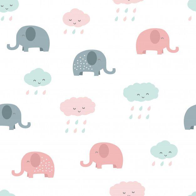 Cute Elephant And Cloud Cartoon Pastel Seamless Pattern